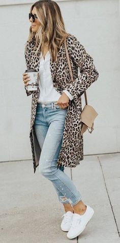 Leopard Coat with Light Wash Denim and Sneakers