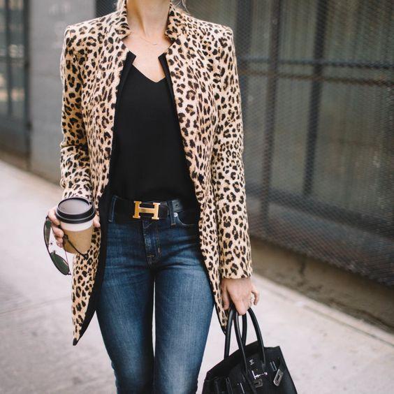 Leopard Coat with Black Tee
