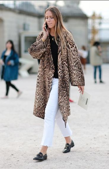 Leopard Coat with White Jeans