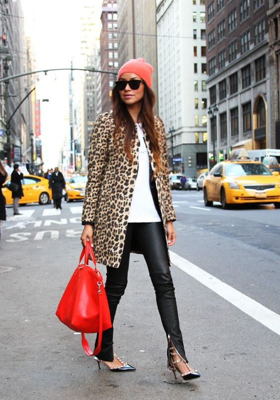Leopard Coat with Red Accessories