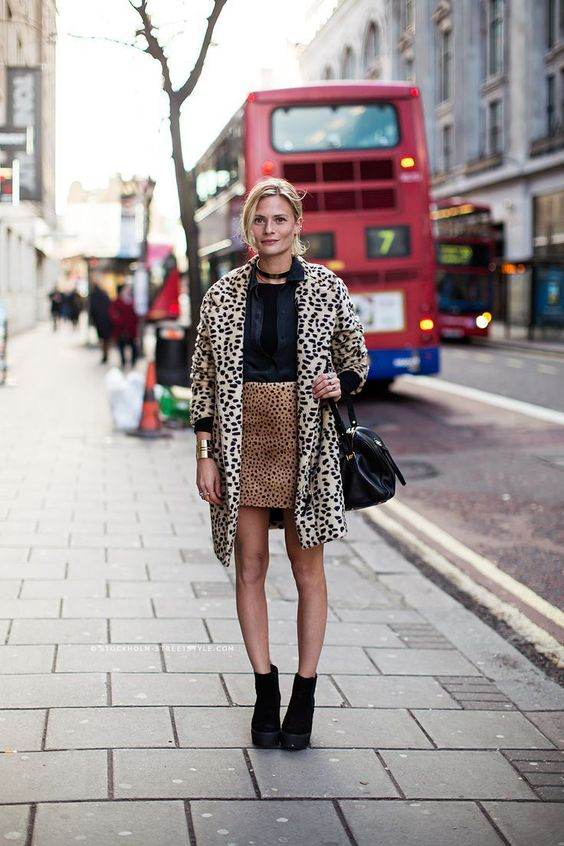 Leopard Coat with Leopard Skirt and Black Booties