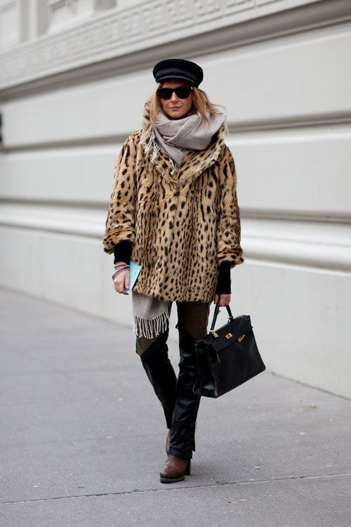 Leopard Coat with Cool Hat