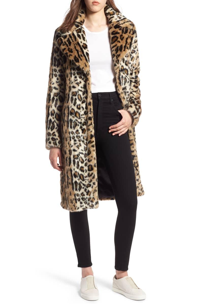 Kendall + Kylie Faux Leopard Coat -