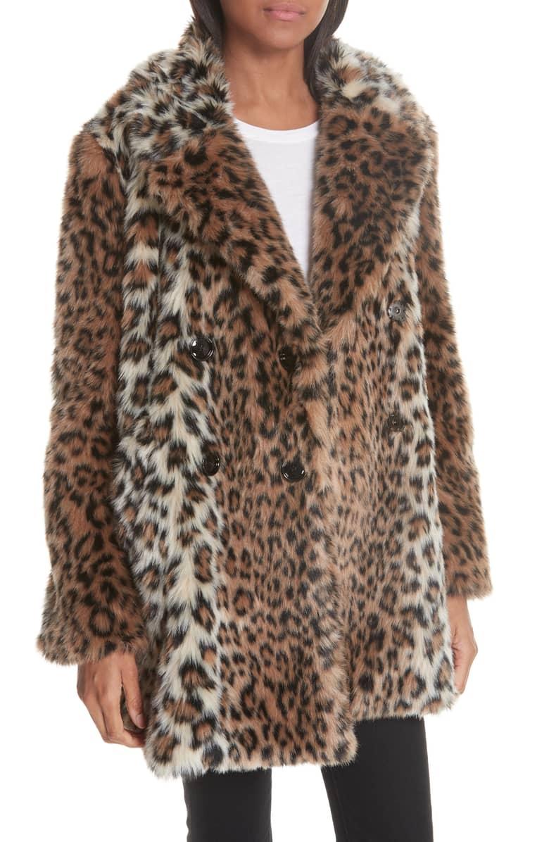 Joie Leopard Faux Fur Coat -