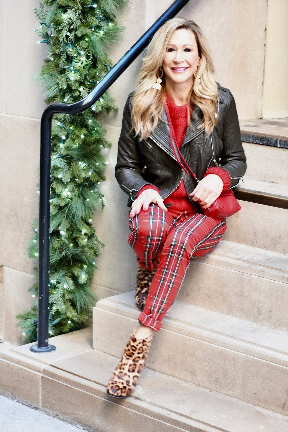 Red Plaid Pants - Crazy Blonde Style