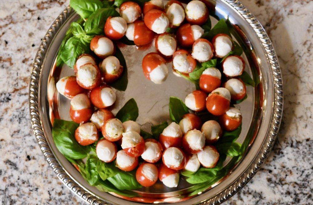 Cherry Tomatoes Stuffed with Pesto & Mozzarella