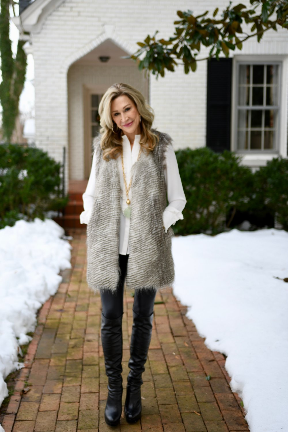Faux Fur Vest with Leather leggings and Stuart Weitzman Boots