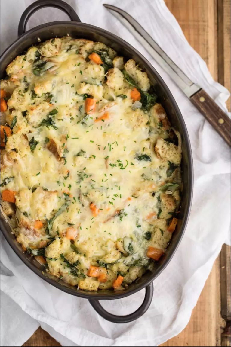 Sweet Potato & Spinach Breakfast Strata,