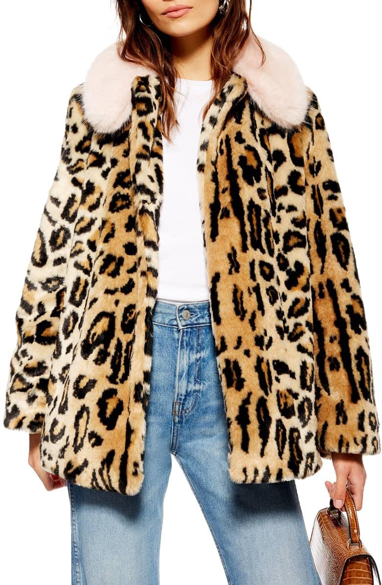Topshop Faux Fur Leopard Coat - $130