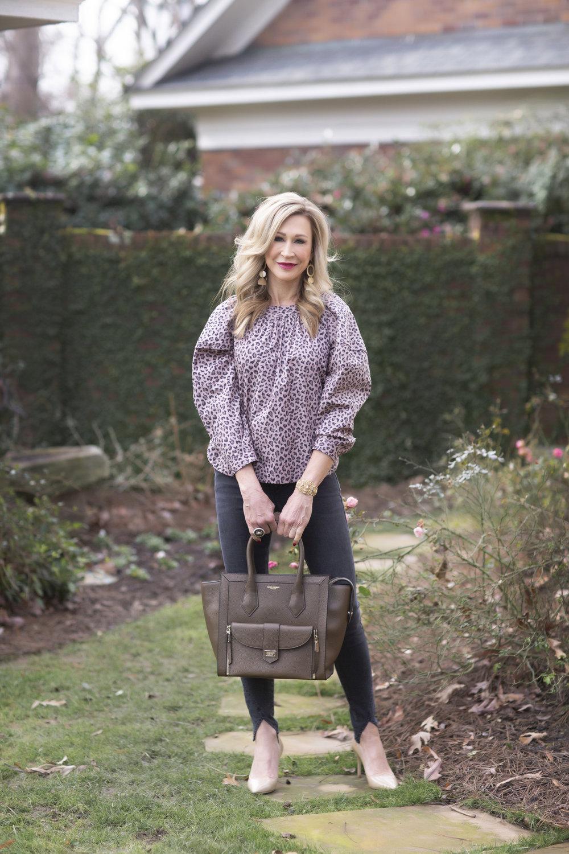 Rebecca Taylor La Vie top with grey skinny jeans