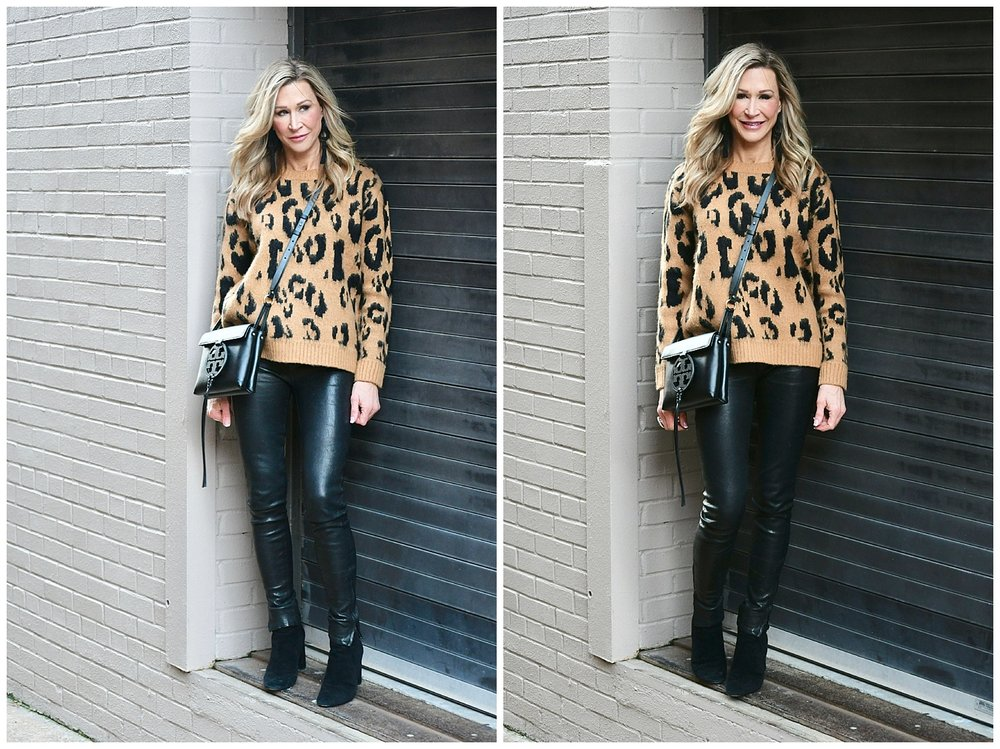 Leopard pants with leather leggings