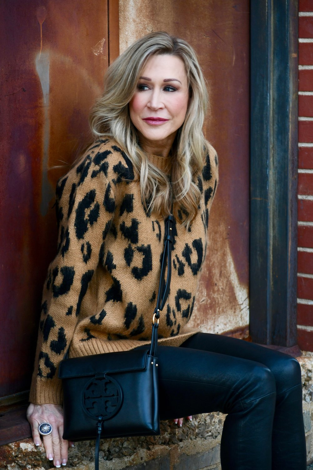 Leopard sweater with leather leggings