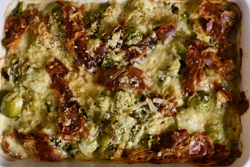 Brussels Sprouts with Gruyere and Prosciutto
