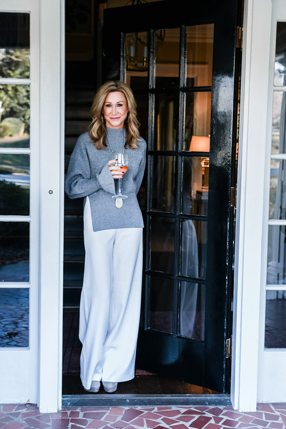 Alexander Wang sweater with wide leg pants - Crazy Blonde Life