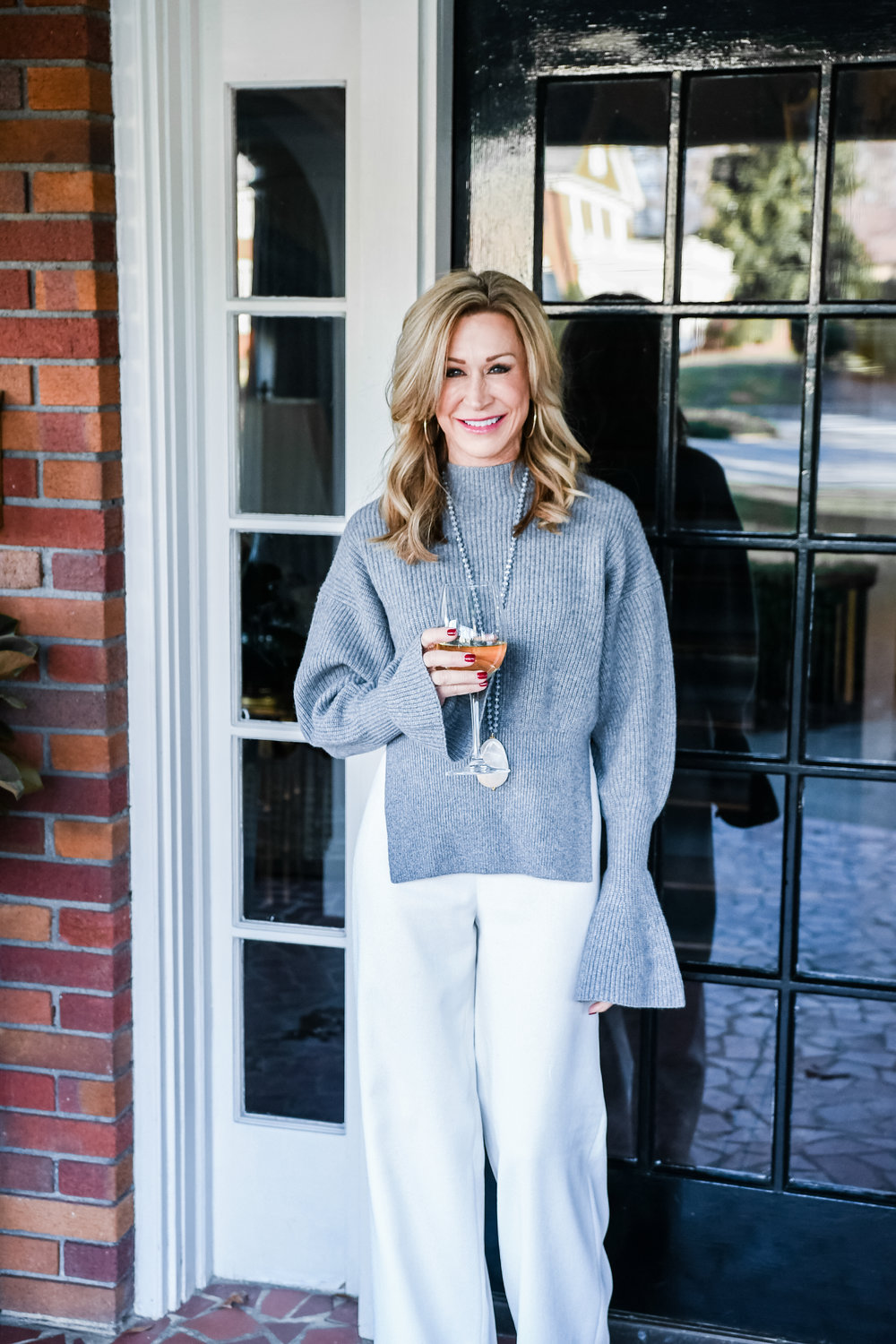 Alexander Wang sweater with wide let pants - Crazy Blonde Life