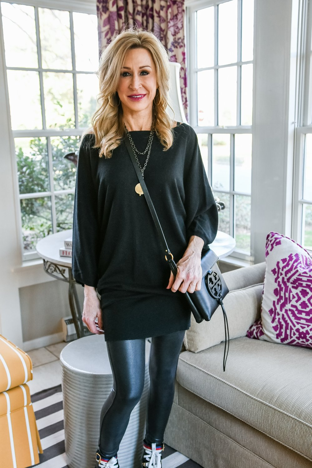 Spanx leggings with sweater dress and Gucci combat boots