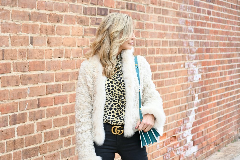 White Fur Coat with Black Jeans and Marni
