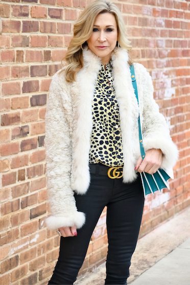 White Fur Coat with Black Jeans, Gucci Belt and Marni Bag