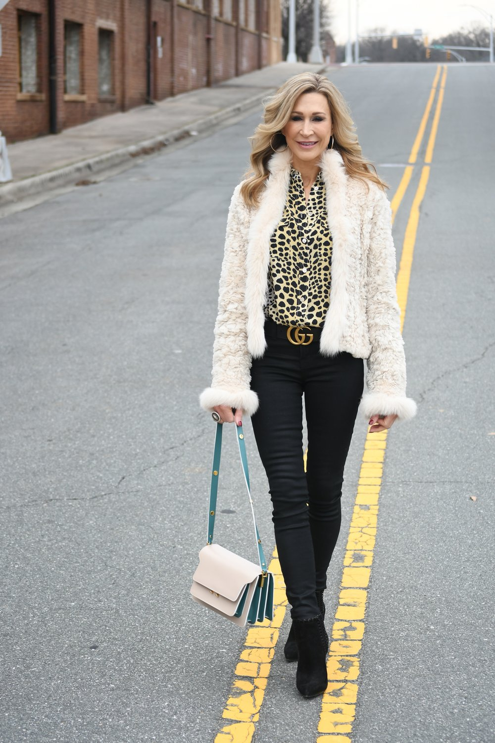 White Fur Jacket with Black jeans, Gucci Belt and Marni bag