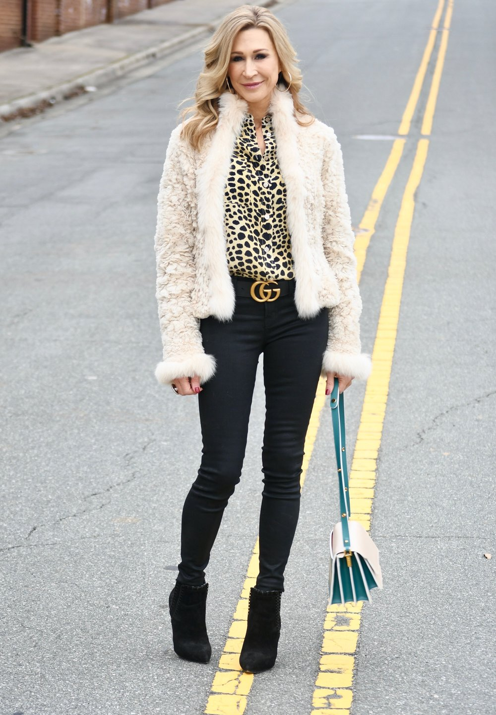White Fur Coat, Black Jeans, Gucci Belt and Marni Bag