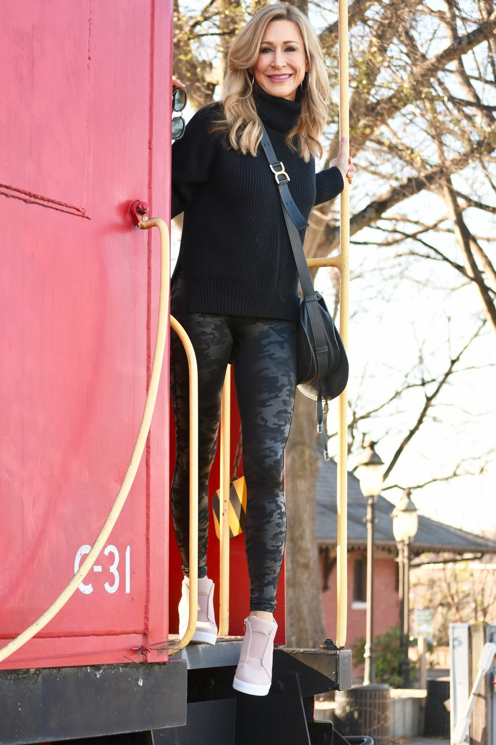 Spanx camo leggings with Vici sneakers and Chloe Bag