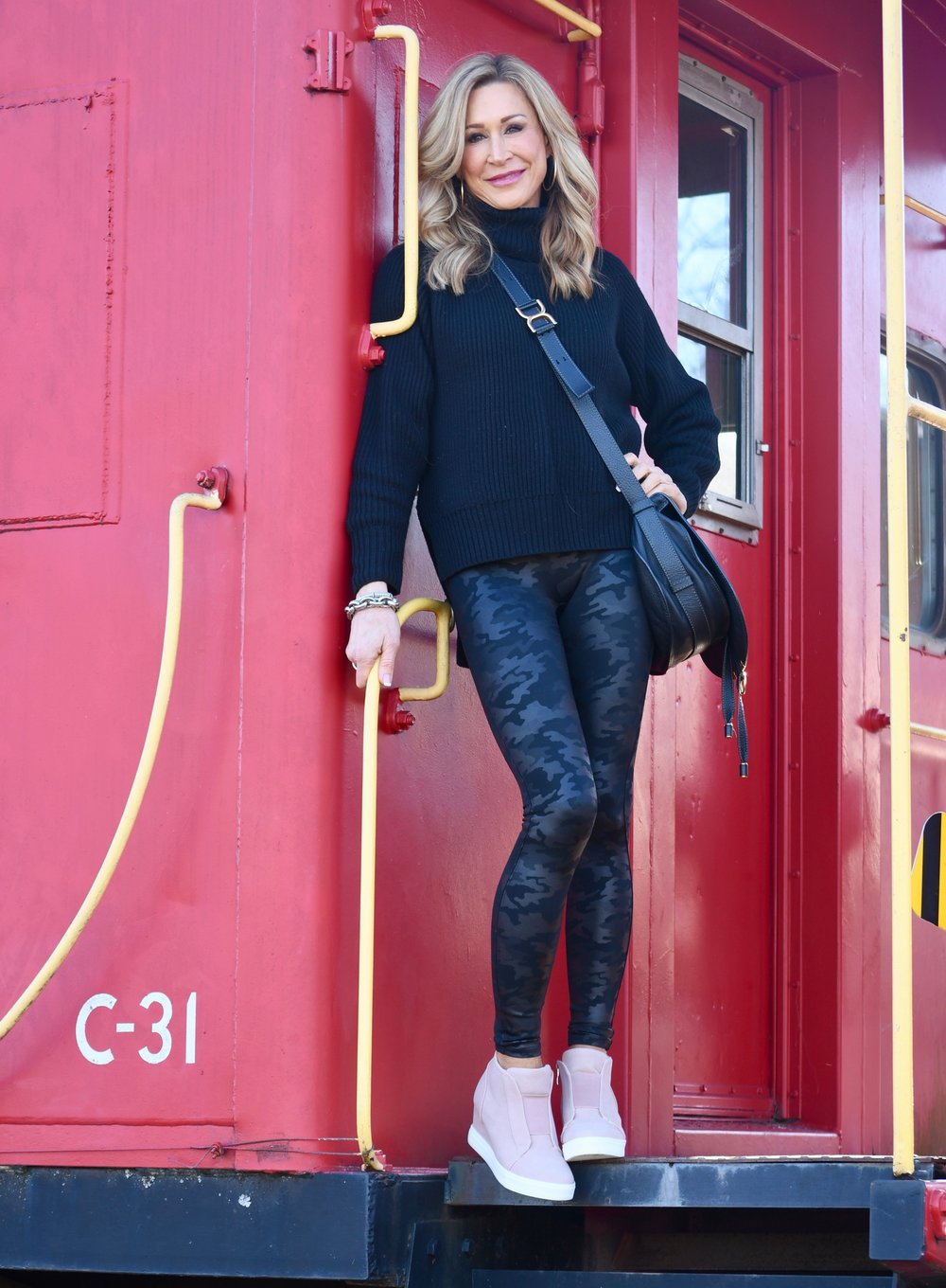 Spanx Camo leggings with Vici sneakers and Chloe Bat