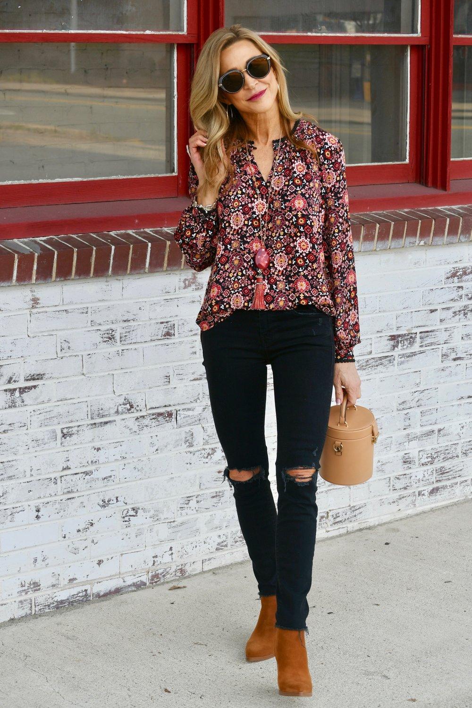 Loft blouse, Mother Denim jeans, Zara bag, Marc Fisher booties