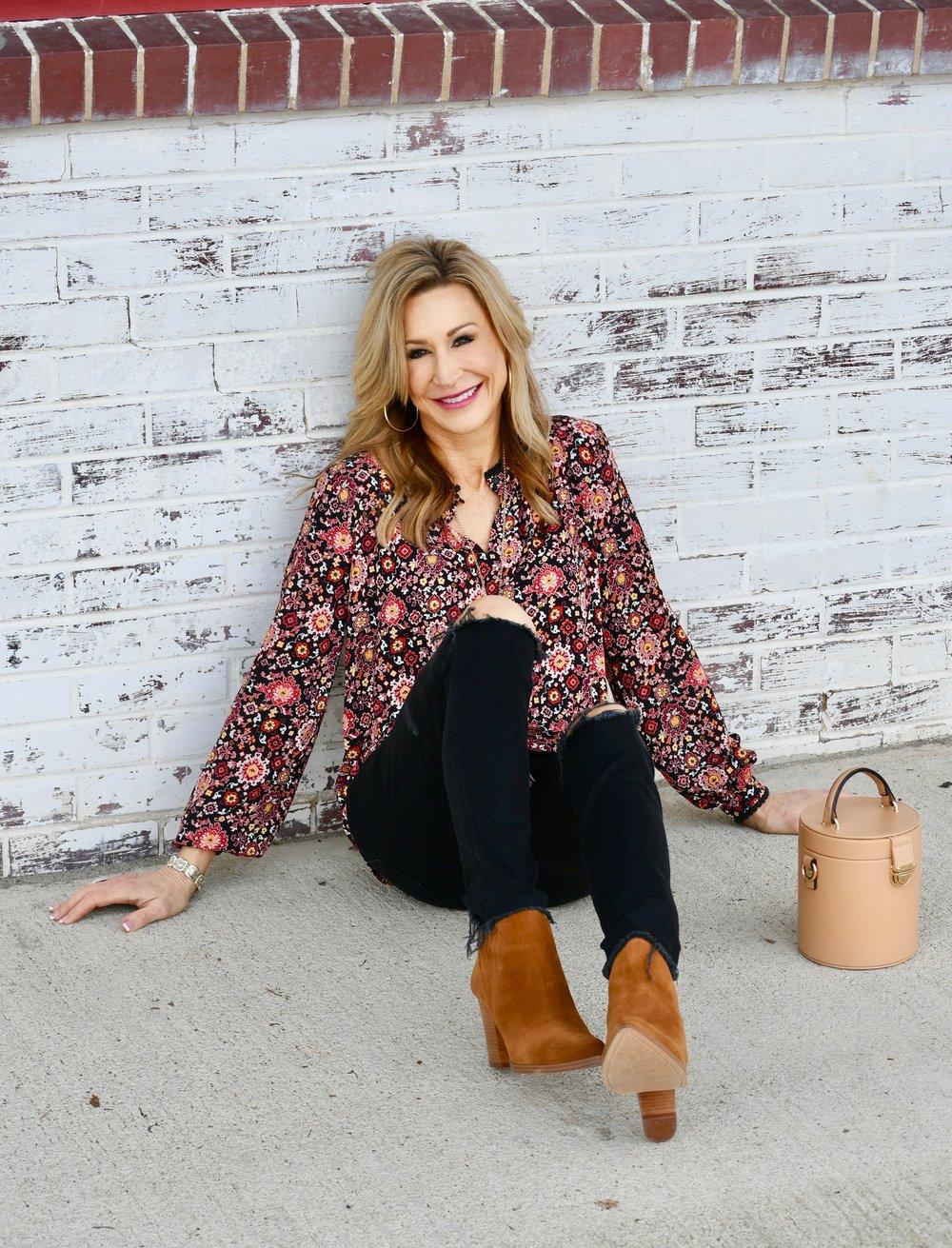 Loft blouse, Mother Denim Jeans, Marc Fisher booties, Zara bag