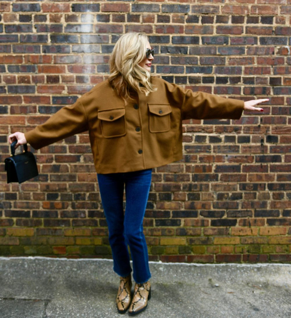 Zara Coat with McGuire denim and Zara Booties - Crazy Blonde Life