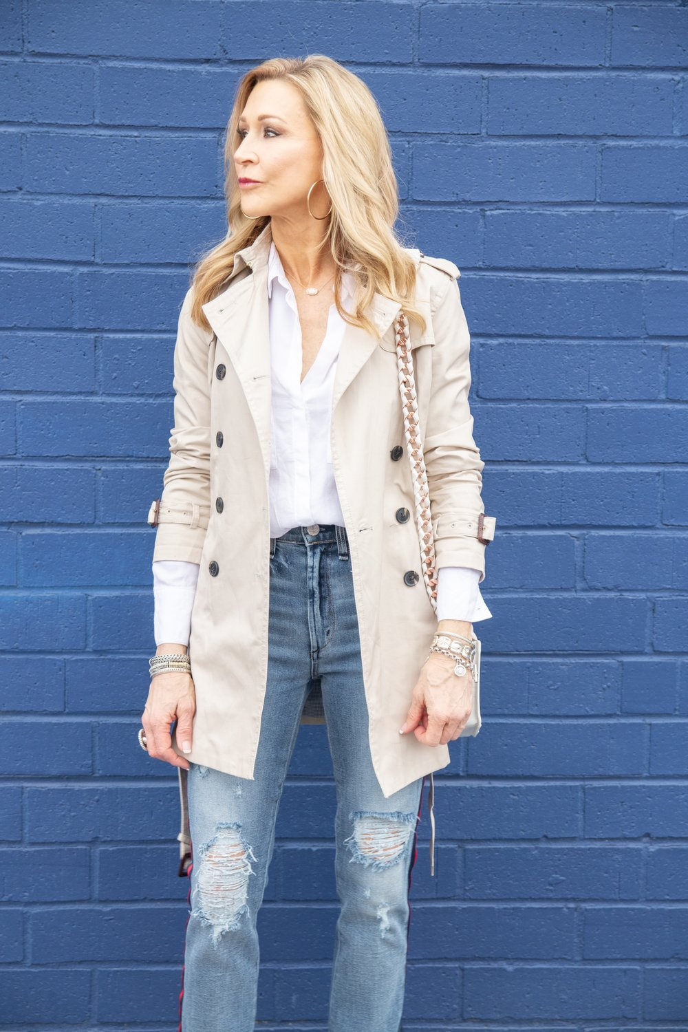 Banana Republic Trench with McGuire Denim Jeans and Zara Booties