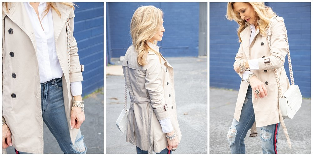 Banana Republic Trench with McGuire Denim and Zara Booties