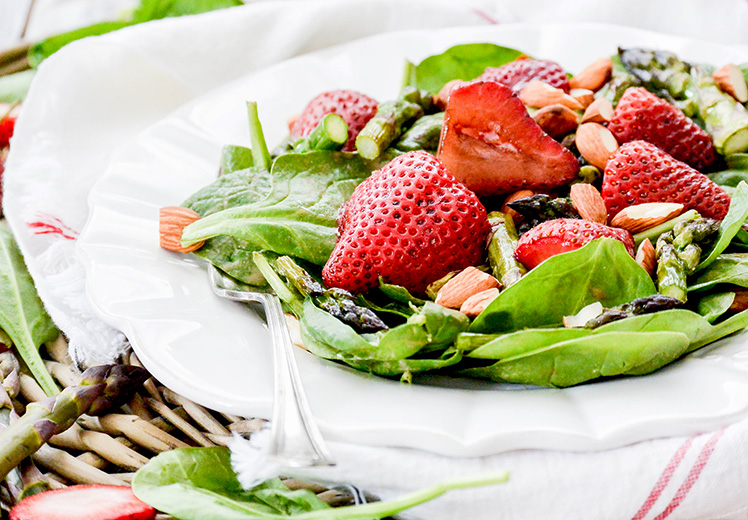 Roasted Strawberry and Asparagus Salad with Strawberry Tahini Dressing