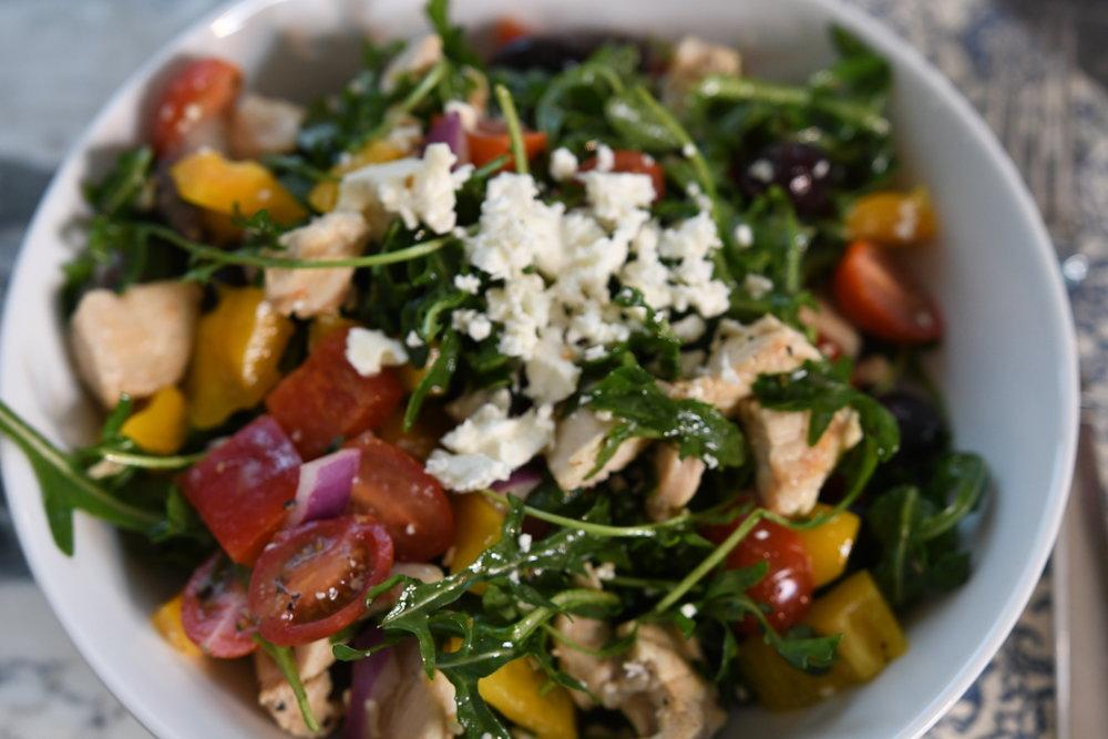 Greek Salad with Chicken - Crazy Blonde Life