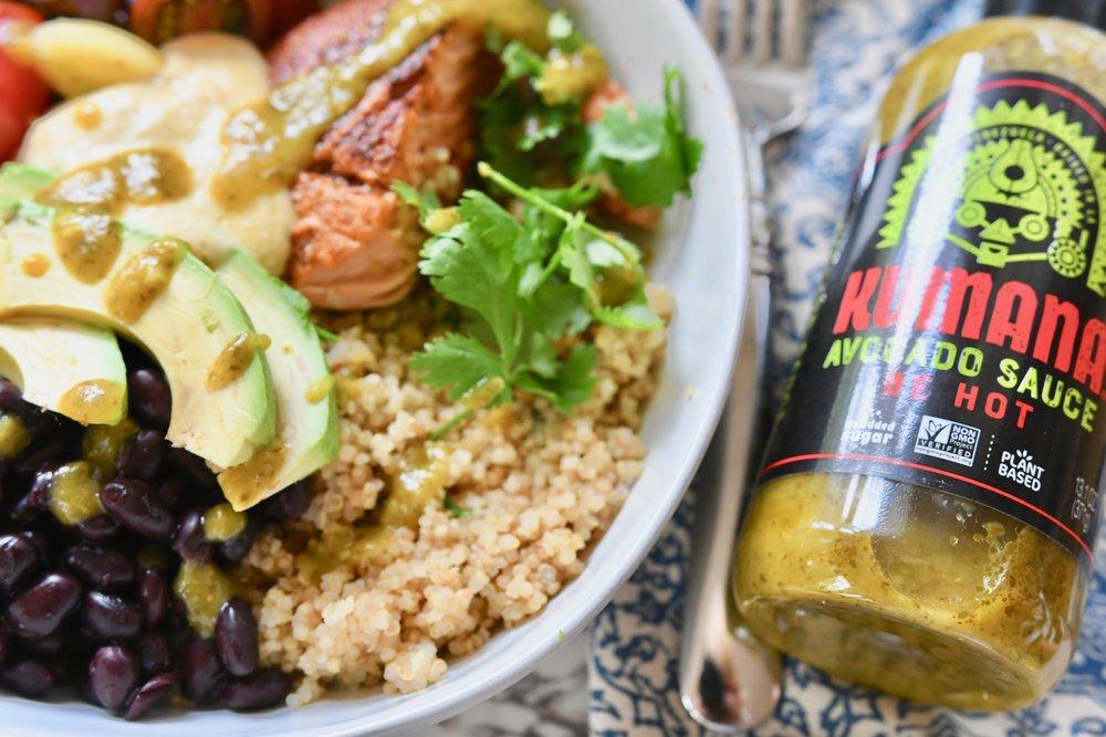 Cilantro Lime Quinoa Bowl with Salmon - Crazy Blonde Life