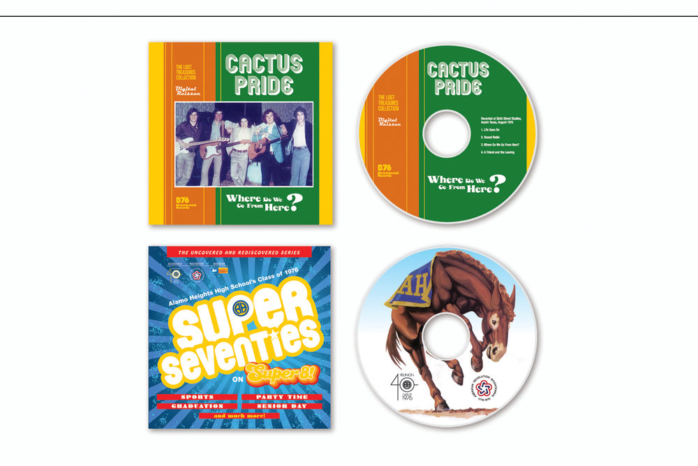"""CD Package,   Liner and disc design for """"Cactus Pride""""  and  """"Super Seventies"""""""