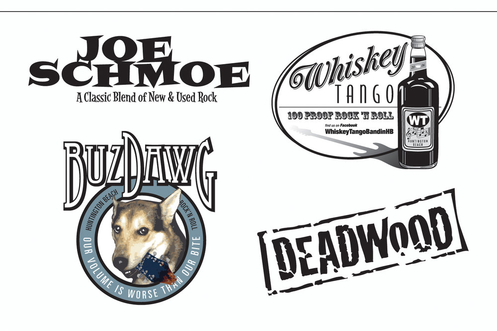 Band Logos,   designs for print and online promotion