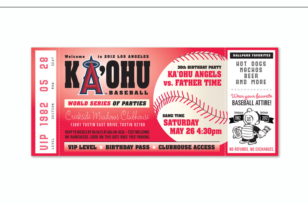 Baseball Ticket,   Birthday party invitation