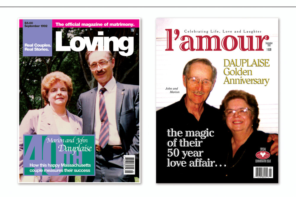 """""""50th Anniversary Magazine Covers: 1992 and 2002"""",   Wedding anniversary celebrated with original designs created in the style of six specific decades"""
