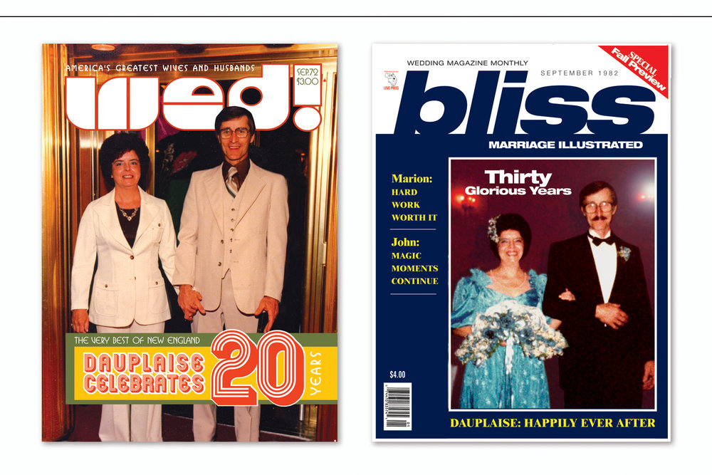 """""""50th Anniversary Magazine Covers: 1972 and 1982"""",   Wedding anniversary celebrated with original designs created in the style of six specific decades"""
