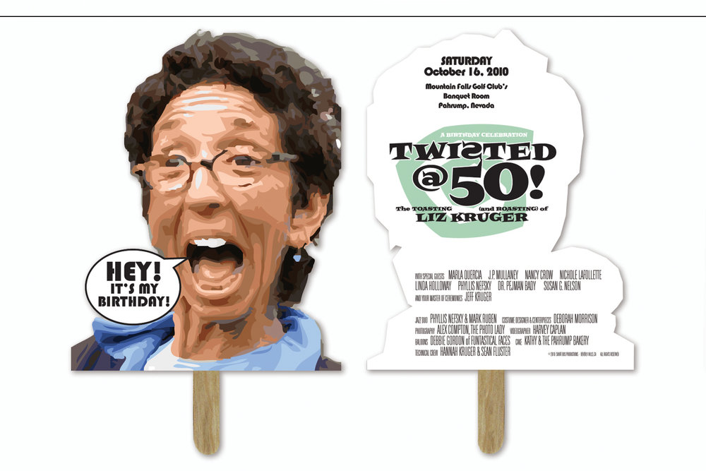 """""""Twisted@50"""",   Birthday party masks with event credits"""