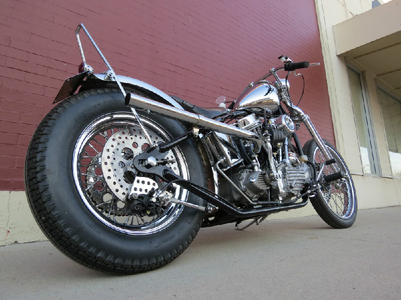 1951 PANHEAD CHOPPER - EXHAUST, SISSY BAR AND BRAKE MOUNT/BRACKETS BY TODD APPLE