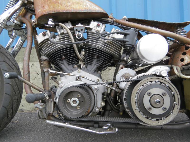 OPEN BDL BELT DRIVE, MOON EYES OIL TANK AND A BEAUTIFUL SHOVELHEAD MOTOR!