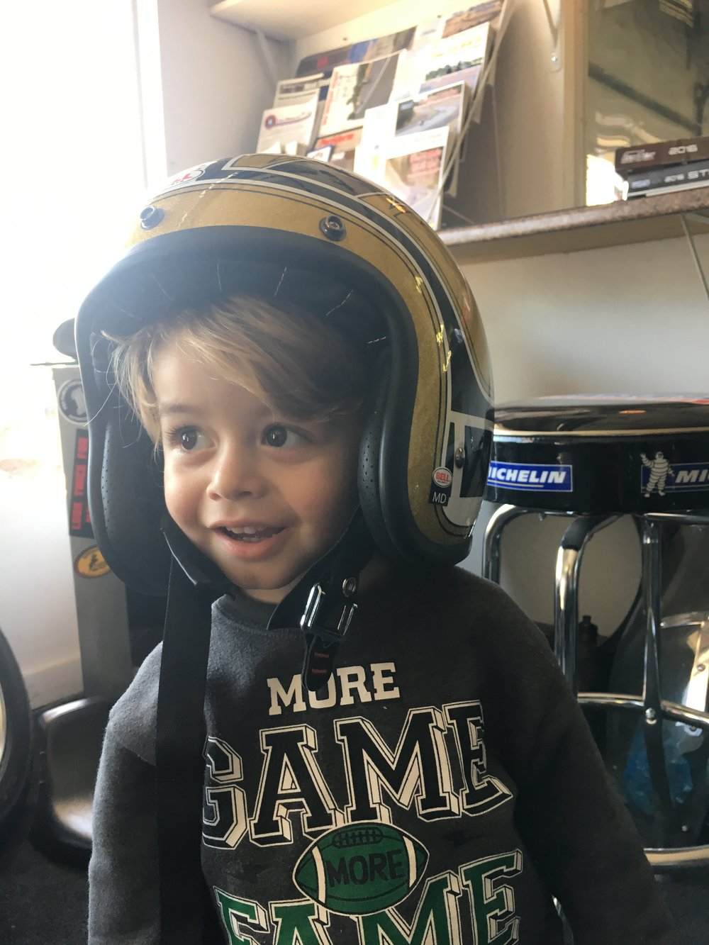 THE BOYS BOY...OUR AMAZING GRANDSON GEARING UP FOR HIS FIRST MOTORCYCLE EXPERIENCE.  :)