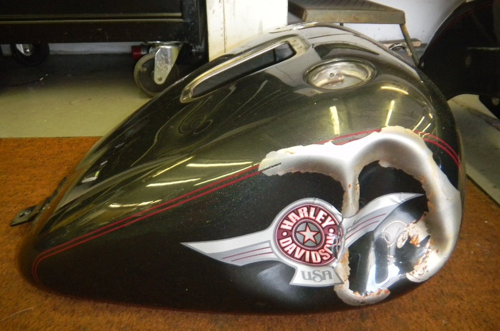 VANDALIZED HARLEY SOFTAIL - TANK FAR BEYOND REPAIR