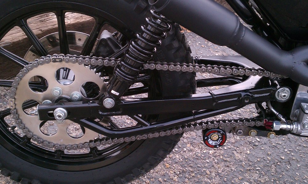 Lengthened and braced swingarm by Todd Apple