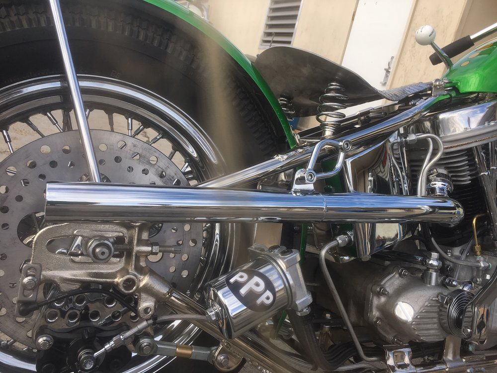 Another fun exhaust bracket by Todd.  Notice the nickle plated frame? …gives you that warm fuzzy feeling!