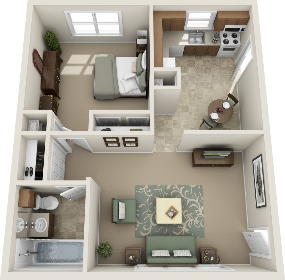 Digital three dimensional floor plan layout fully furnished. Top left is a bedroom with a mirror on a dresser and bed with side table and 2 closets. Top right is a kitchen with a pantry, fridge, cabinet space, sink and dishwasher, stove and microwave, a door opening to a hallway and a small table for two in the bottom right of the kitchen area. the bottom right is a living room furnished with two couches, two side tables, rug with a small table and a tv in the corner. There is also another door exiting to a hallway. To the bottom left is a hall closet and then a bathroom with medicine cabinet over the toilet, a sink with cabinet space, and a tub.