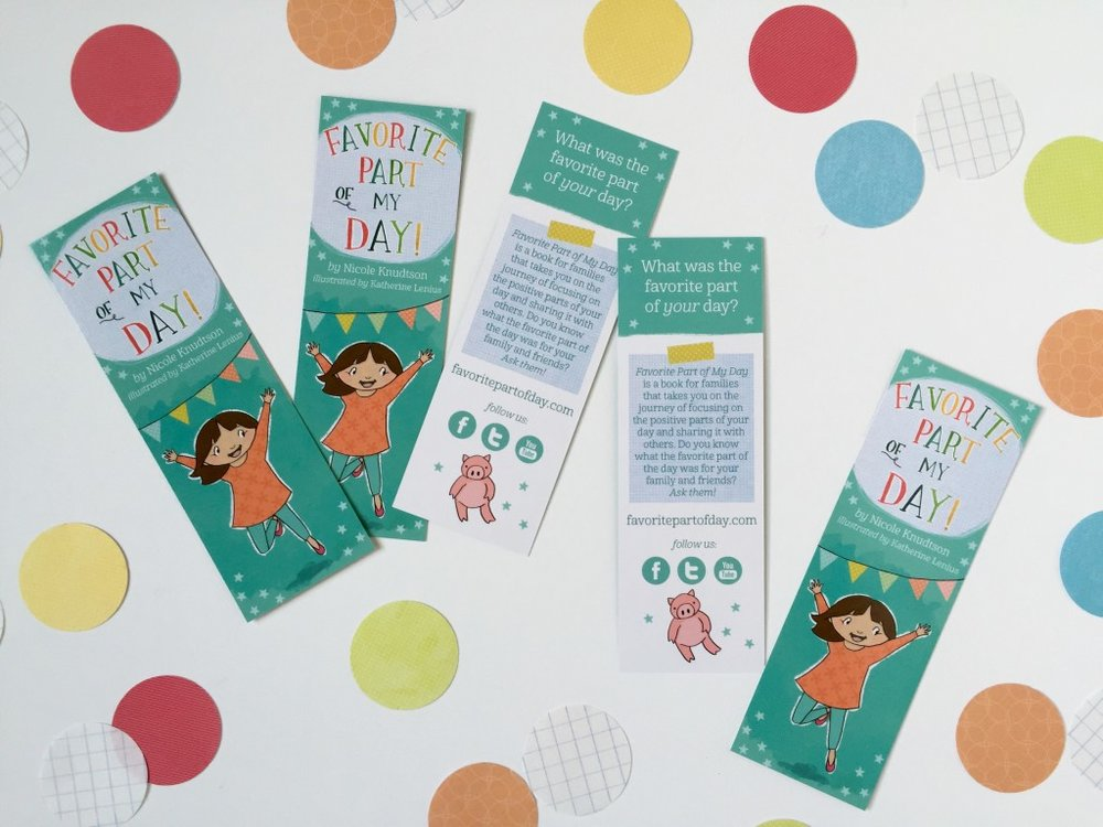 Promotional bookmarks for our book!