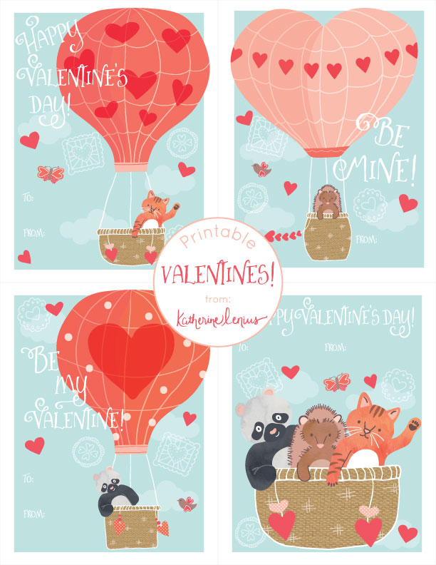 Heart Balloon Printable Valentines from katherinelenius.com