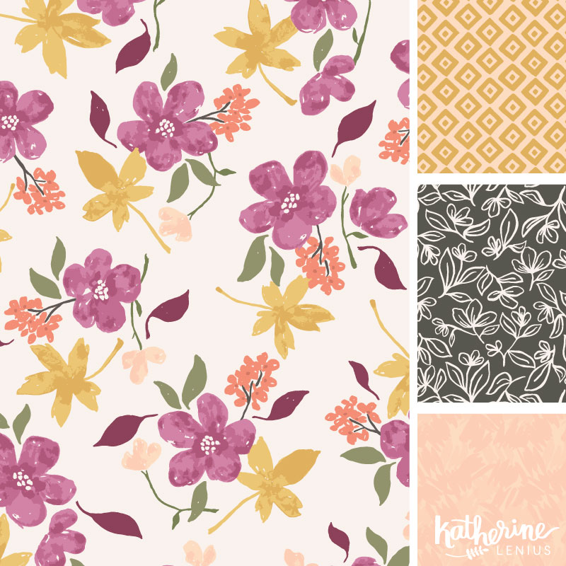 The colors of fall in a floral pattern collection.
